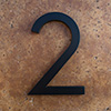 modern house numbers 2 in black