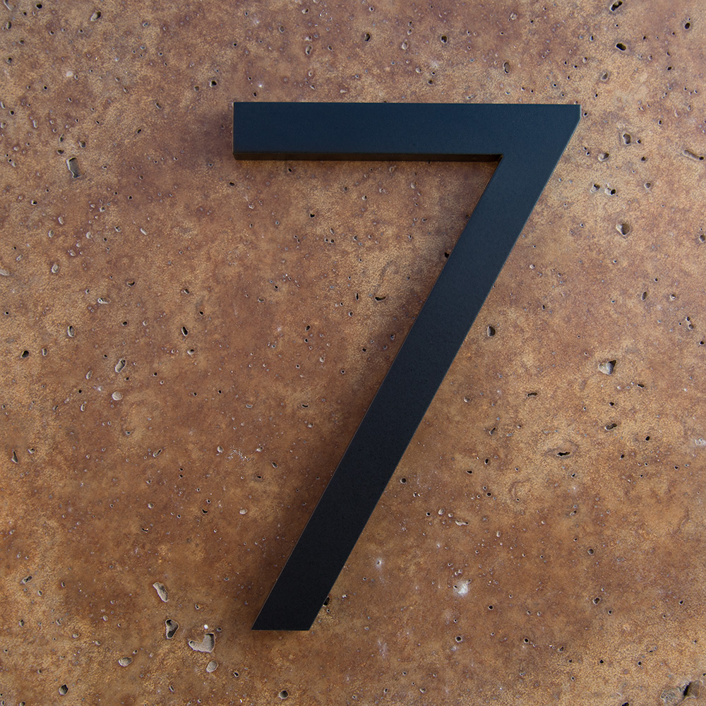 Modern house numbers 7 in black