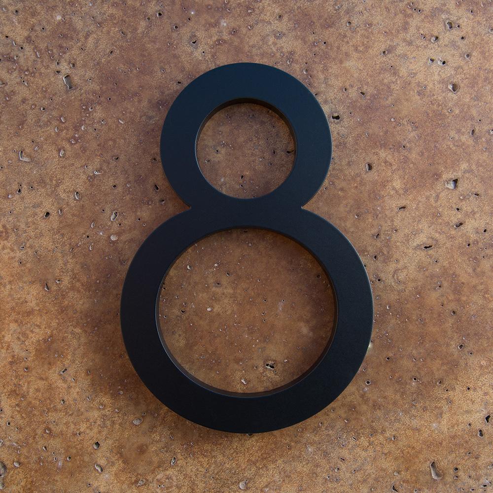 Modern house numbers 8 in black