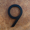 modern house numbers 9 in black