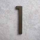 modern house numbers 1 in bronze