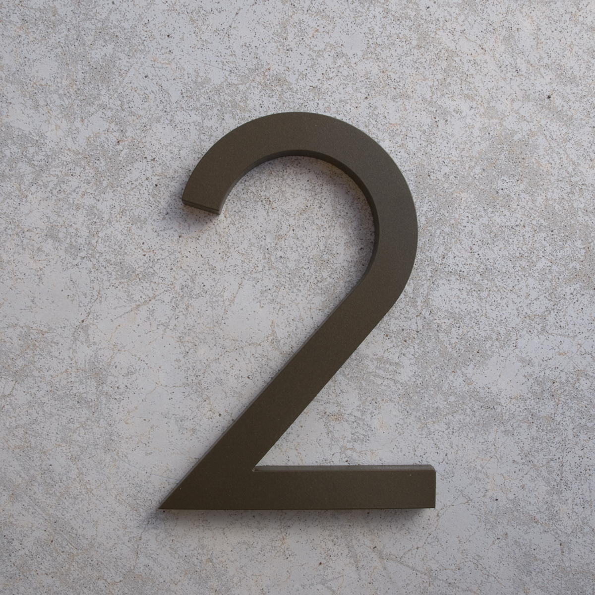 Modern house numbers 2 in bronze