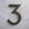 modern house numbers 3 in bronze