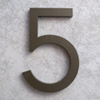 modern house numbers 5 in bronze