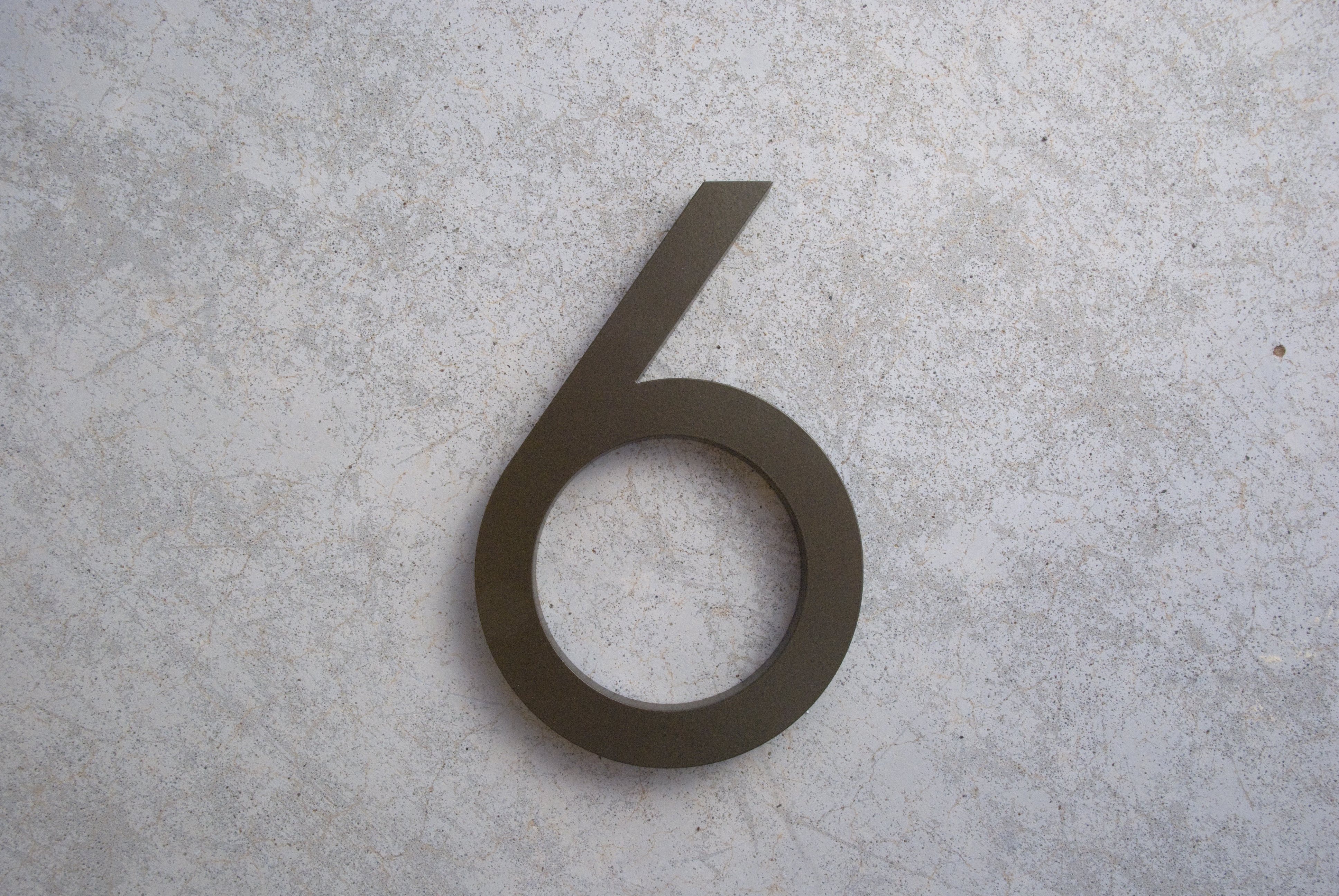 Modern house numbers 6 in bronze